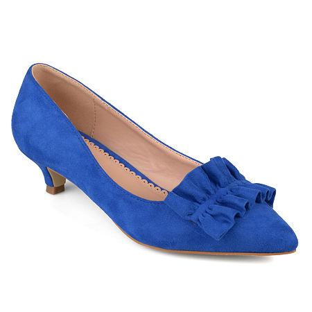 Journee Collection Womens Sabree Pumps Kitten Heel, 10 Medium, Blue