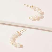 Faux Pearl Beaded Stud Earrings