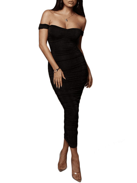Milanoo Sexy Bodycon Dresses Ruched Off The Shoulder Pencil Dress