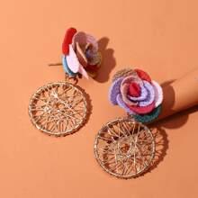 Flower Decor Round Drop Earrings