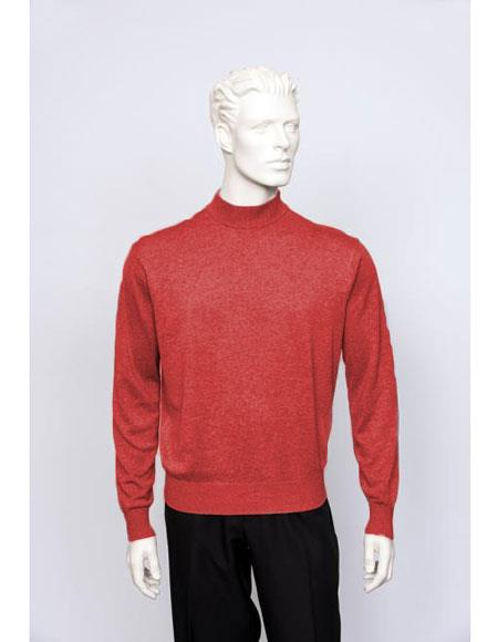 Mens Silk Blend Brighton Long Sleeve Flame Mock Neck Fine Knit Sweater