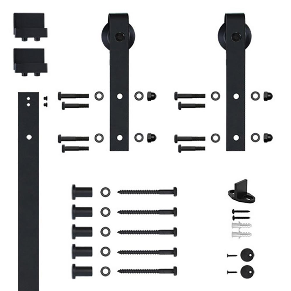 6.6 Ft. Black Hook Strap Rolling Door Hardware Kit for Wood Door