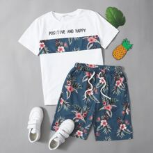 Boys Floral & Slogan Graphic Tee & Shorts Set