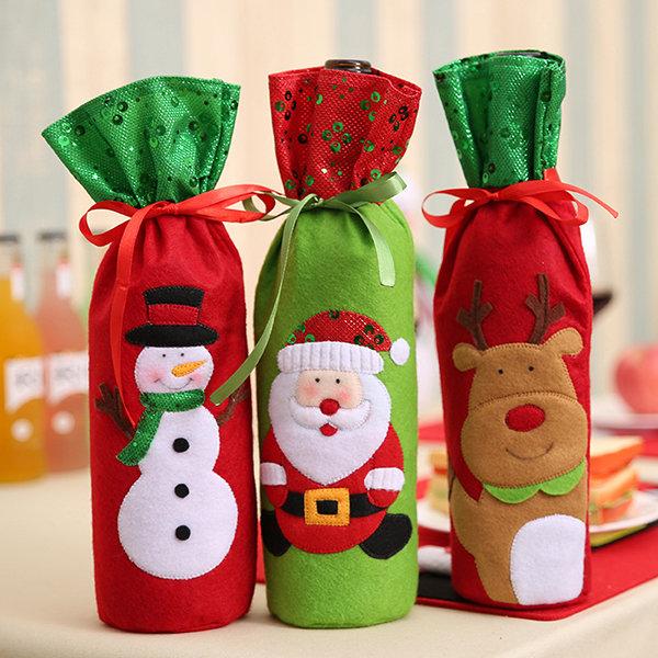 Christmas Wine Bottle Decor Set Santa Claus Snowman Deer Bottle Cover Clothes Kitchen Decoration