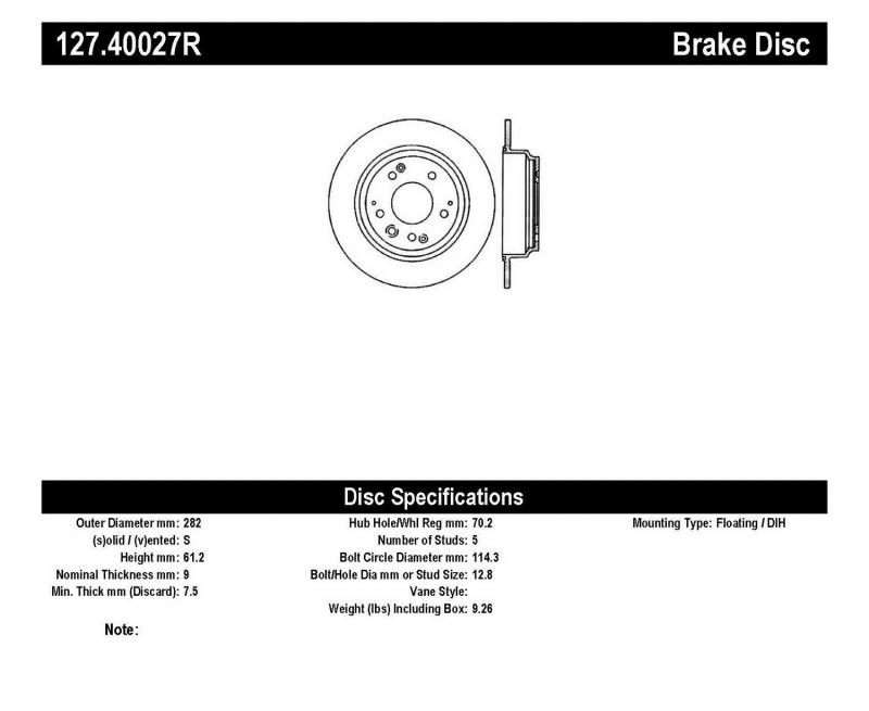 StopTech 127.40027R Sport Drilled/Slotted Brake Rotor; Rear Right Rear Right