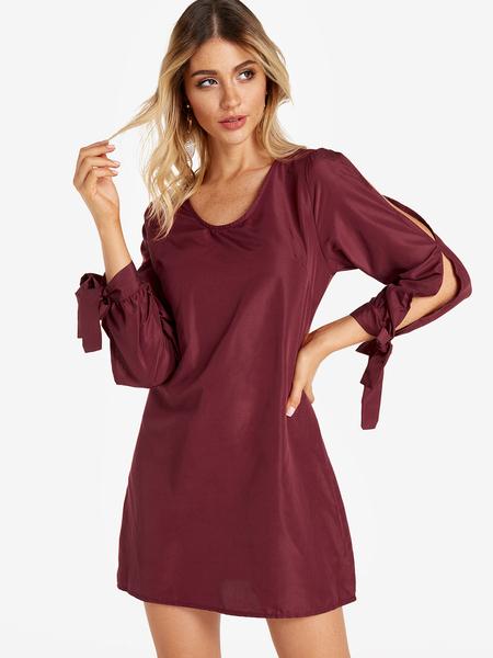 Yoins Burgundy Self-tie Design Cold Shoulder Long Sleeves Dress