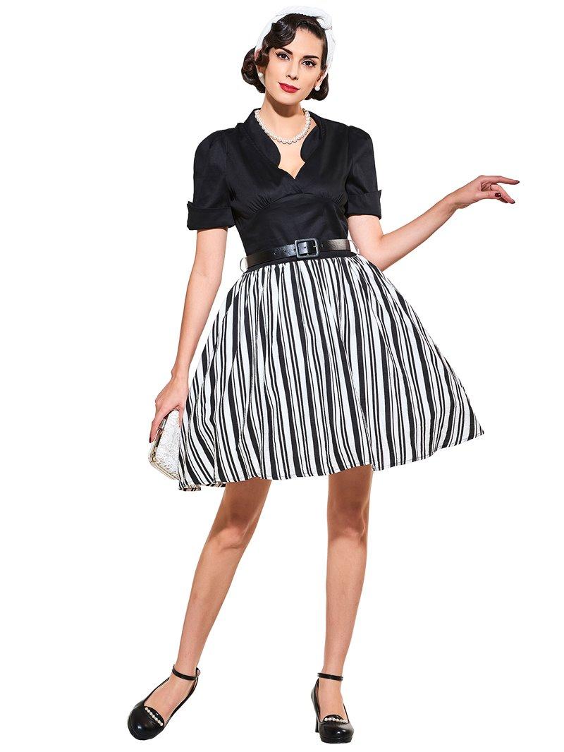 Ericdress Stand Collar Short Sleeve Vintage A Line Dress