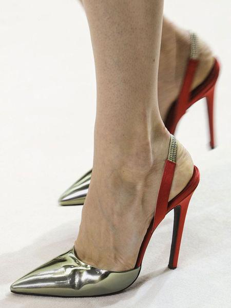 Milanoo Zapatos de Tacones de mujer de tacon de aguja de punta de plata tacon alto PU zapatos Slip On