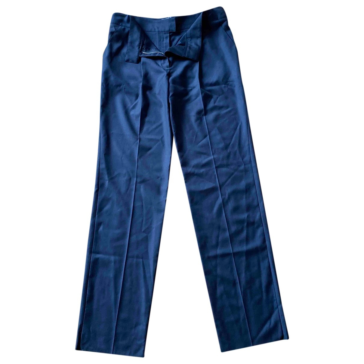 Courrèges \N Navy Wool Trousers for Women 40 FR