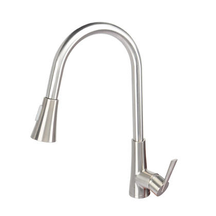 We Remain Open Single-Handle Pull-Down High Arc Sprayer Kitchen Sink Faucet Brushed Nickel - LIVINGbasics™