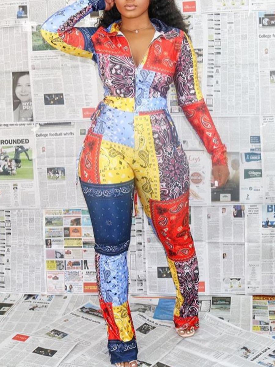 LW lovely Stylish Turndown Collar Print Patchwork Deep Blue Two Piece Pants Set