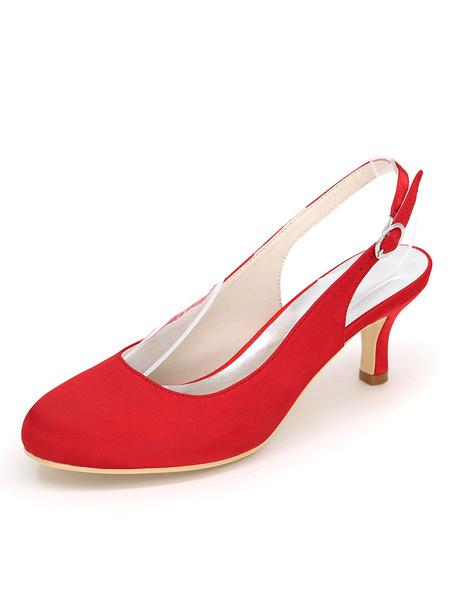 Milanoo Wedding Guest Shoes Silver Bridesmaid Shoes Satin Round Toe Slingbacks Wedding Shoes