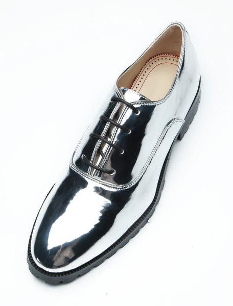 Milanoo Silver Oxford Shoes Men Dress Shoes Round Toe Lace Up Party Shoes