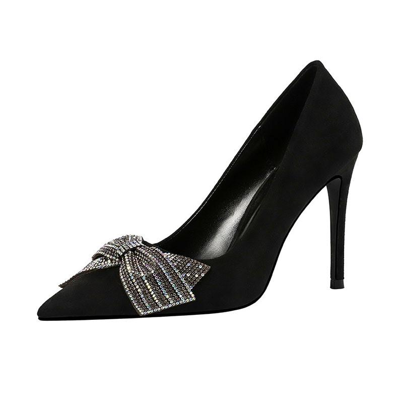 Ericdress Pointed Toe Stiletto Heel Slip-On Low-Cut Upper Pumps
