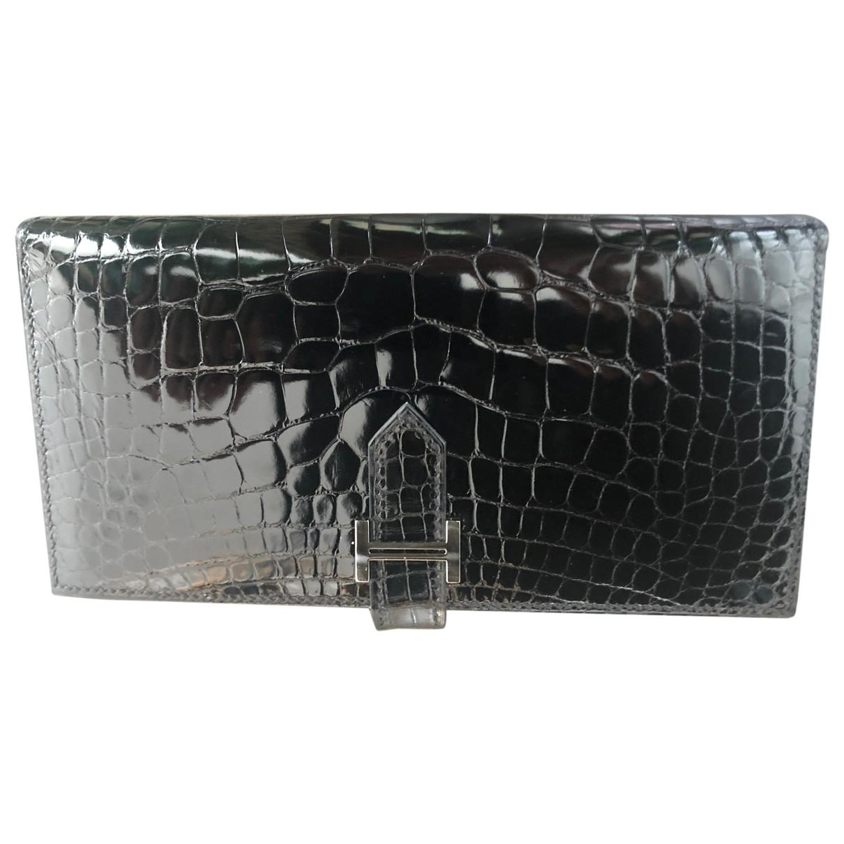 Hermès Béarn Black Alligator wallet for Women \N
