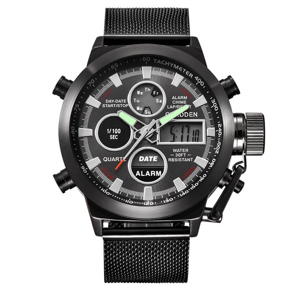 XINEW Men's Sport Watches Waterproof Calender Alarm LED Military Leather Quartz Wristwatch Gift