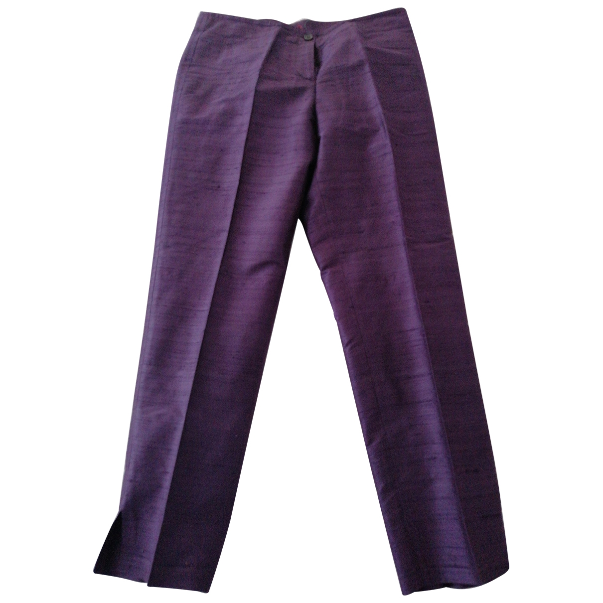 Non Signé / Unsigned \N Purple Silk Trousers for Women 42 IT