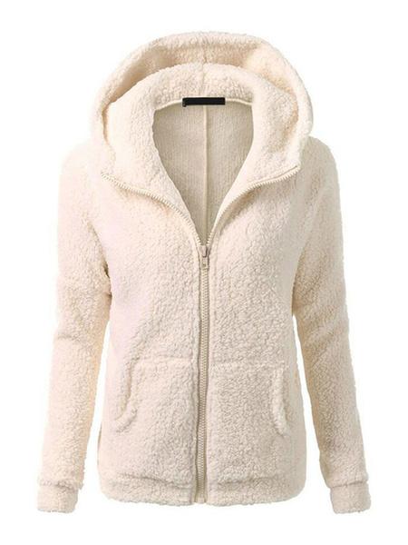 Milanoo Women\'s Jackets Hooded Zipper Casual Pockets Street Wear Pink Jacket