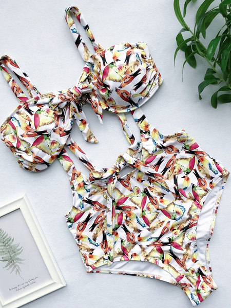 Milanoo Women Swimsuit 2020 Printed Suspender Bikini Beach Bathing Suit