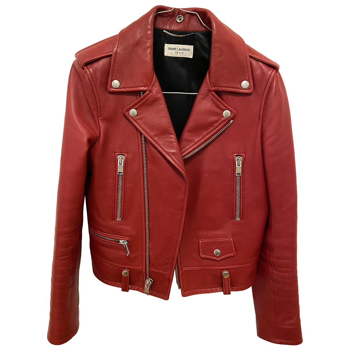 Yves Saint Laurent \N Red Leather Leather jacket for Women 36 FR