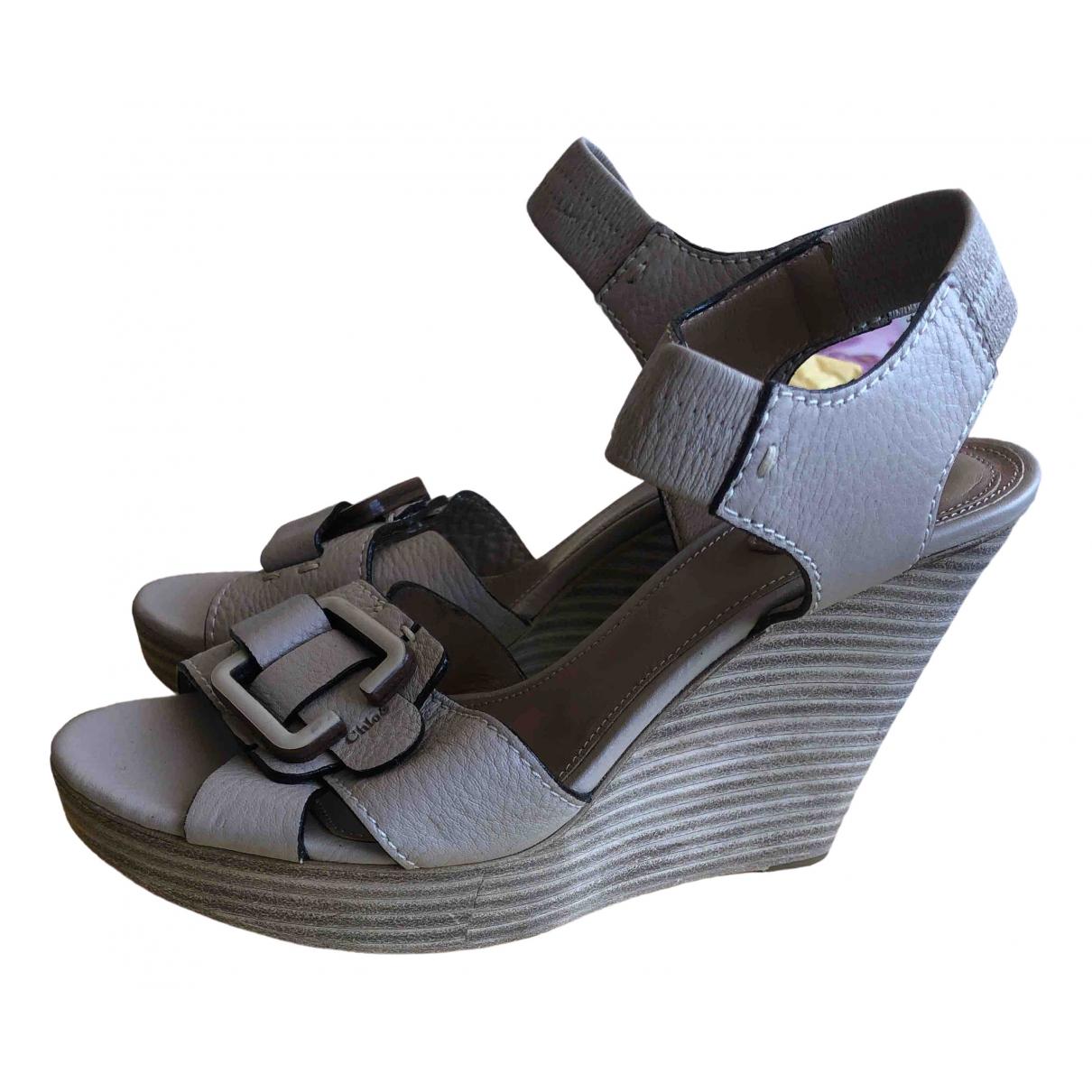 Chloé \N Beige Leather Sandals for Women 39 EU