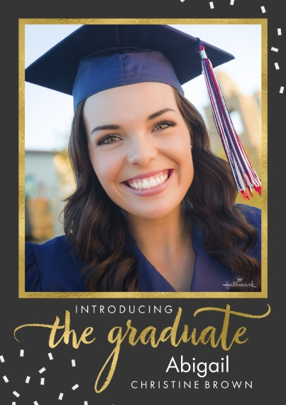 Graduation Announcements 5x7 Cards, Premium Cardstock 120lb with Elegant Corners, Card & Stationery -Introducing the Graduate Confetti