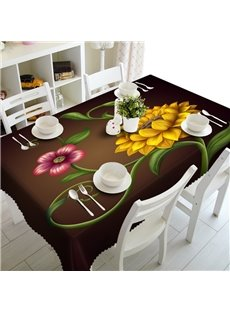 Decorative Polyester Flowers Prints Washable 3D Tablecloth