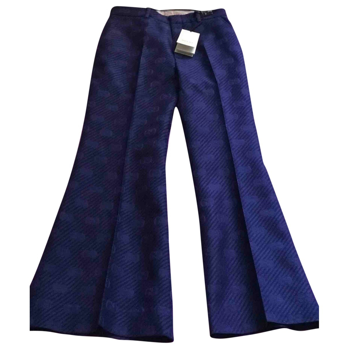 Gucci \N Blue Cotton Trousers for Women 40 IT