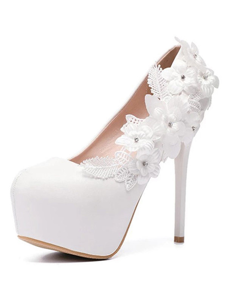 Milanoo White Wedding Shoes Platform Almond Flowers Beaded High Heel Bridal Shoes