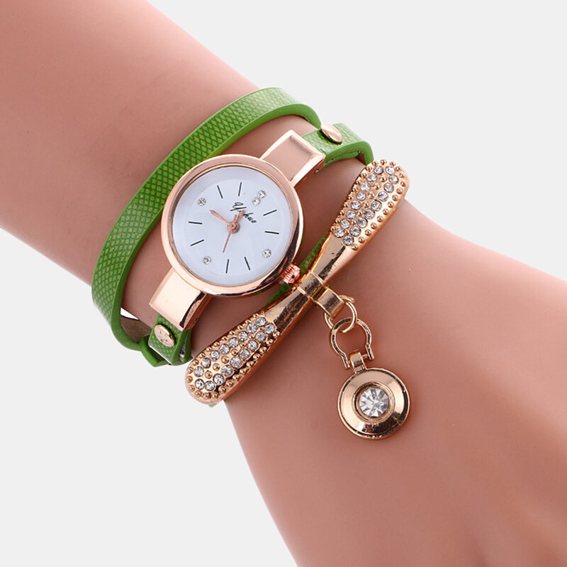 Casual Women Watch Leather Strap Rhinestone Metal Decorative Circle Pendant Multi-Layer Quartz Watch