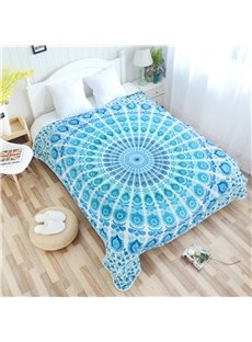 Blue Mandala Pattern Ethnic Style Flannel Bed Blankets