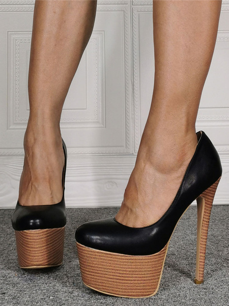 Milanoo Women Sexy High Heels Black Round Toe Stripes Platform Black Sexy Pumps