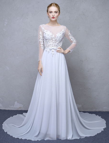Milanoo Summer Wedding Dresses 2020 White Lace Long Sleeve Backless Beaded Chiffon Beach Bridal Gowns With Train