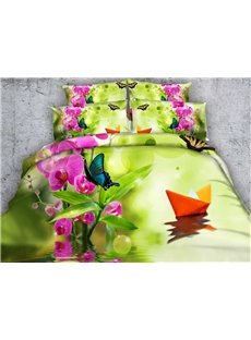 Pretty Paper Boat and Phalaenopsis Print 5-Piece Comforter Sets