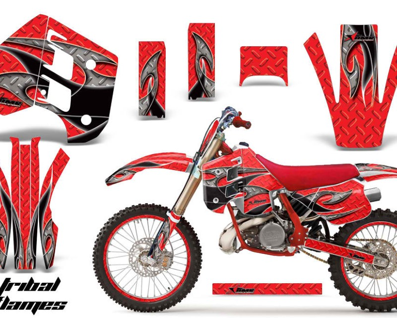 AMR Racing Graphics MX-NP-KTM-C8-90-92-TF K R Kit Decal Wrap + # Plates For KTM EXC250 EXC300 MXC250 MXC300 1990-1992áTRIBAL BLACK RED