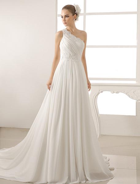 Milanoo Beaded Chiffon Wedding Dress With One-Shoulder