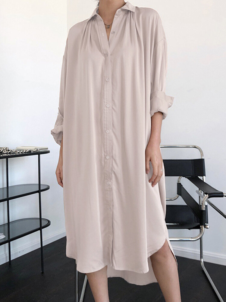Casual Solid Color Turn-down Collar Long Sleeve Shirt Dress