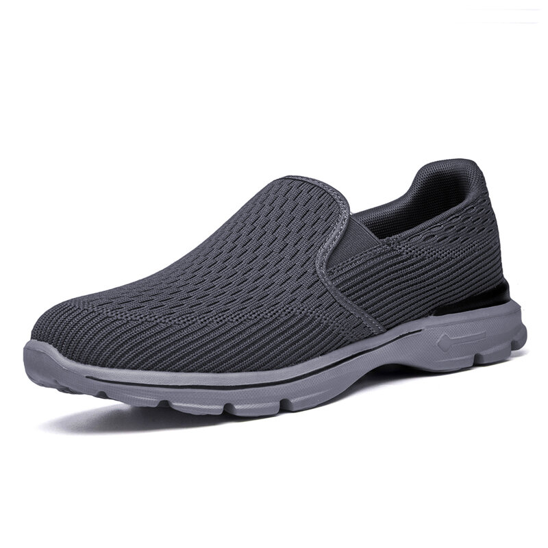 Men Knitted Fabric Breathable Lightweight Slip On Casaul Walking Shoes
