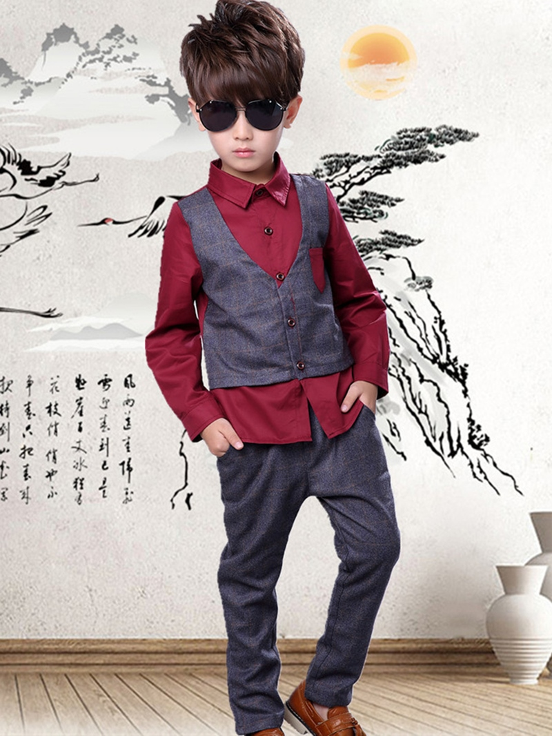 Ericdress Double-Layer Shirt Plaid Pants Two-Piece Boys Outfit
