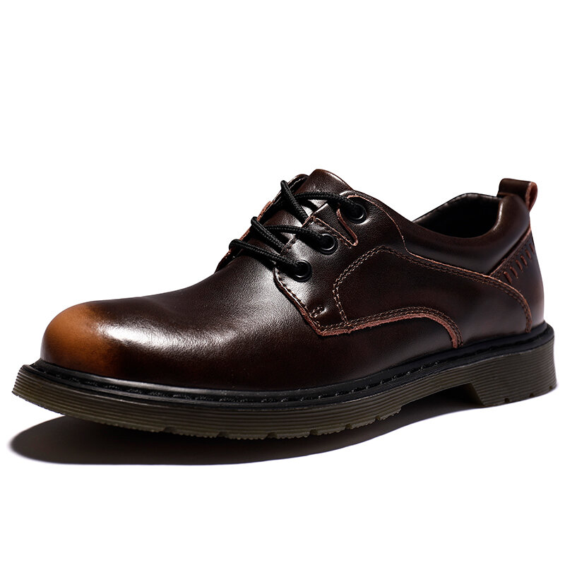 Men Retro Microifber Leather Non Slip Wearable Casual Shoes