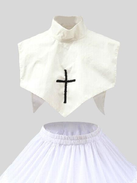 Milanoo White Gothic Lolita Fake Neck