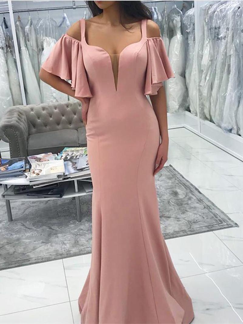 Ericdress Mermaid Straps Hollow Bridesmaid Dress