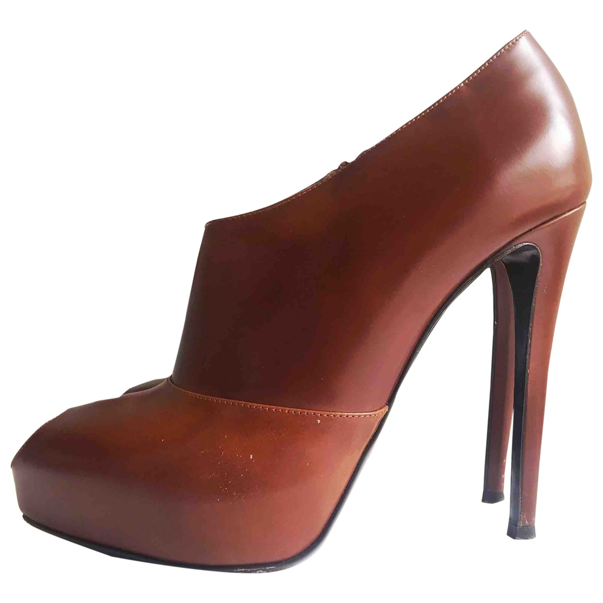 Emporio Armani \N Brown Leather Ankle boots for Women 38.5 EU