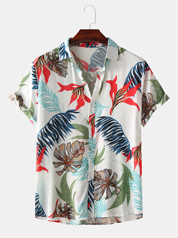 Mens Summer Vocation Tropical Leaf Casual Short Sleeve Shirts