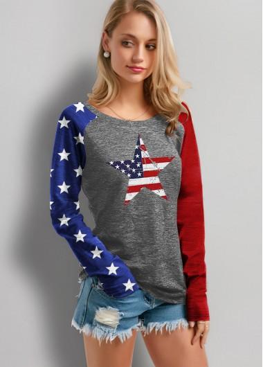Round Neck Long Sleeve American Flag Print T Shirt - XS