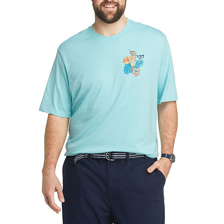 IZOD-Big and Tall Mens Crew Neck Short Sleeve Graphic T-Shirt, 2x-large Tall , Blue