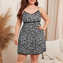 Plus Lace Insert Leopard Print Cami Night Dress
