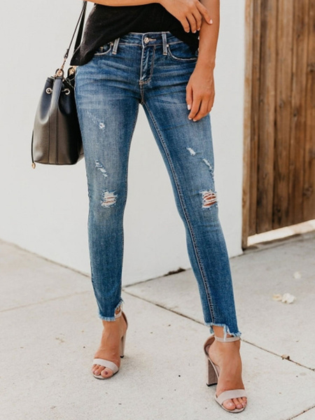 Milanoo Ripped Jeans Woman Distressed Denim Pants