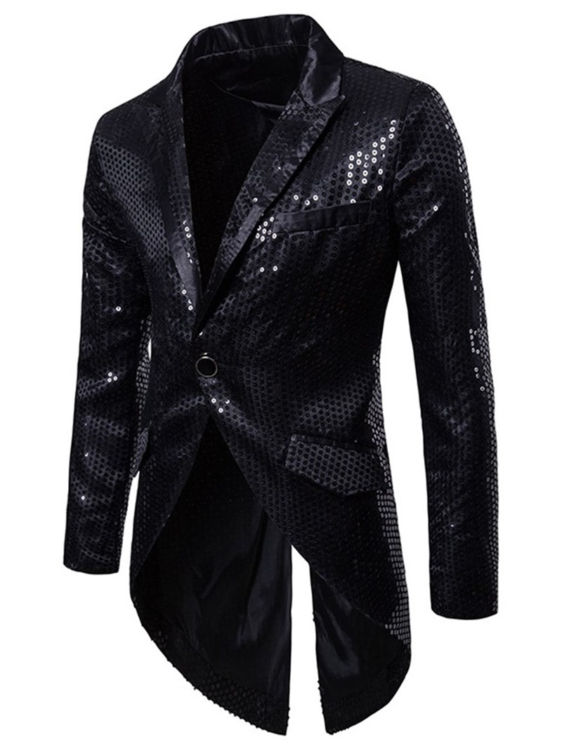 Ericdress Asymmetric Sequin Notched Lapel Mens One Button Costume