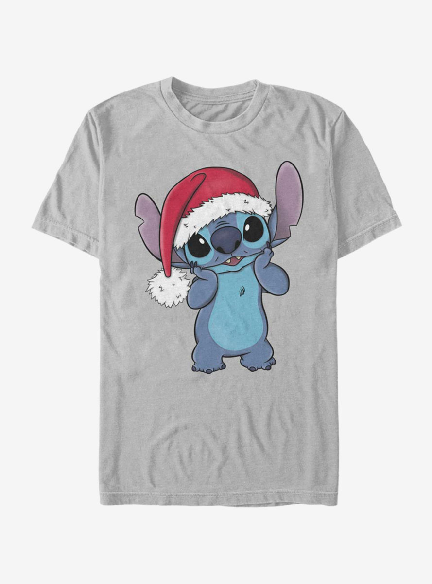 Disney Lilo And Stitch Wearing Santa Hat T-Shirt